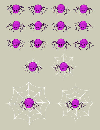 Purple Spider Game Sprites. Suitable for side scrolling, action, and adventure game.