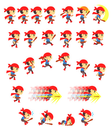 cartoon kid: Adventure Boy Game Sprites. Suitable for side scrolling, action, and adventure game.