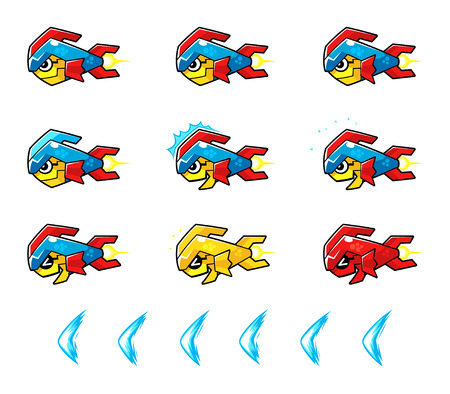 Trooper Fish Robot Enemy Game Sprites. Suitable for side scrolling, action, and adventure game.