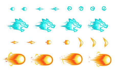 Sprites Shoot juego diversos. Adecuado para desplazamiento lateral, acción y aventura. Ilustración de vector