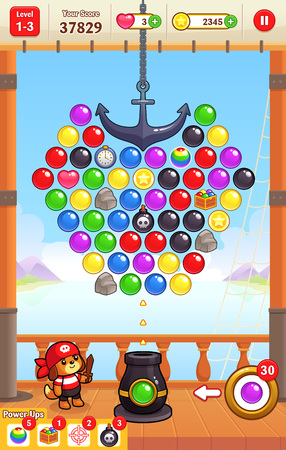ios: Cannon Ball Shooter game assets for 2D bubble shooter puzzle game. Illustration