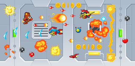 scroller: The Rocketeers game assets for 2D action adventure shooting side scroller game.