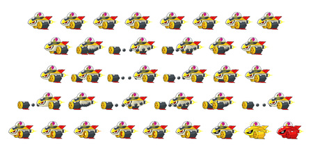Big Fish Space Ship Enemy Game Sprites. Suitable for side scrolling, action, and adventure game.