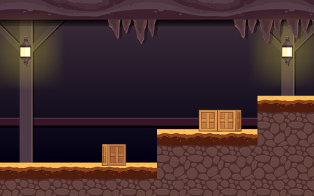 Haunted Dungeon Game Background. Suitable for side scrolling, action, and adventure game. Ilustração