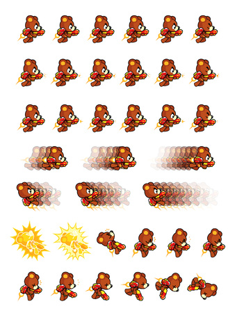 scrolling: Brown bear With Jet Pack And Gun Game Sprites. Suitable for side scrolling, action, and adventure game. Illustration