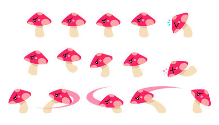 Mushroom Enemy Game Sprites. Suitable for side scrolling, action, and adventure game.