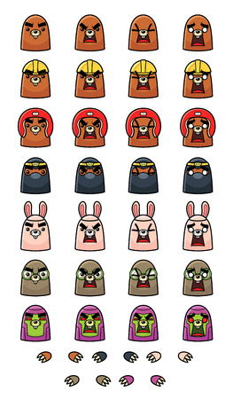 Mole Game Sprites. Suitable for tapping, action, and shooting game.