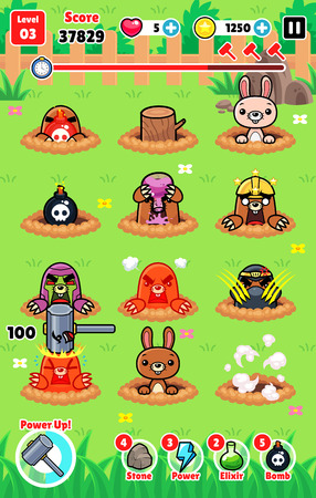 whack: Moles Attack game assets for 2D whack a mole smash and hit action fun game.