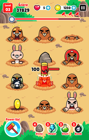 Moles Attack game assets for 2D whack a mole smash and hit action fun game.