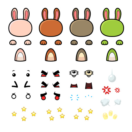 Bunny Game Sprites. Suitable for tapping, action, and shooting game.