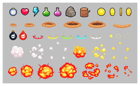 tapping: Miscellaneous Items Game Sprites. Suitable for tapping, action, and shooting game.