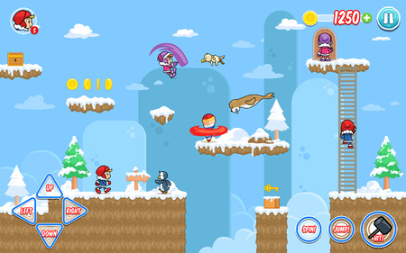 Ice Ventura game assets for 2D platform, jumping, and hack and slash action fun game. Illustration