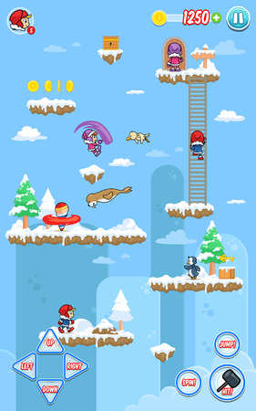 ios: Ice Ventura game assets for 2D platform, jumping, and hack and slash action fun game. Illustration