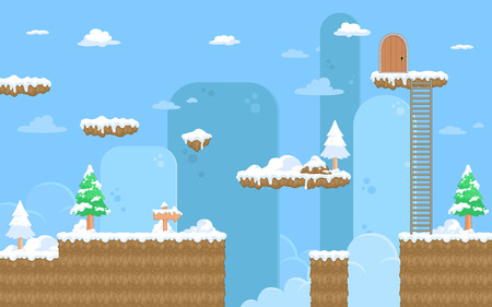 platform: Nature Snow Game Background. Suitable for tapping, side scrolling, action, and adventure game.