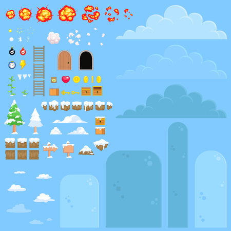 scrolling: Nature Snow Game Background. Suitable for tapping, side scrolling, action, and adventure game.
