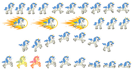 White Unicorn Game Sprites Suitable for side scrolling, action, adventure, and endless runner game.