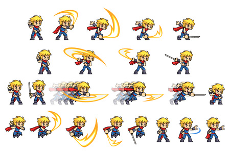 Blue Ninja Boy Attack Game Sprites. Suitable for side scrolling, action, and adventure game.