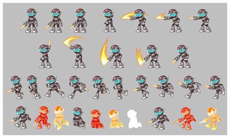 scrolling: Grey Cyborg Enemy Game Sprites. Suitable for side scrolling, action, and adventure game.