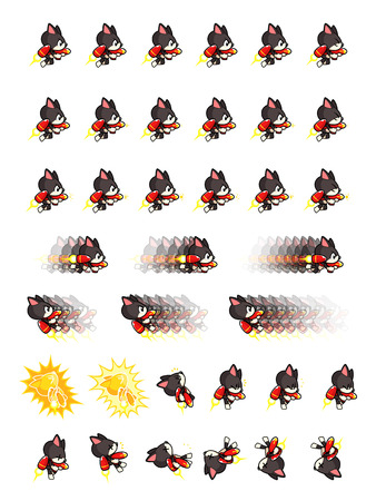 scrolling: Black Cat With Jet Pack And Gun Game Sprites. Suitable for side scrolling, action, and adventure game.