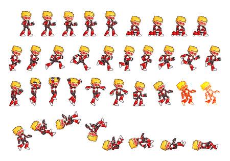 Red Robot jeu Sprites. Convient pour un défilement latéral, l'action et jeu d'aventure.
