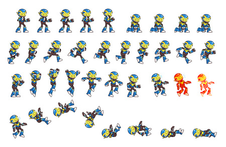 cartoon kid: Blue Robot Game Sprites. Suitable for side scrolling, action, and adventure game.