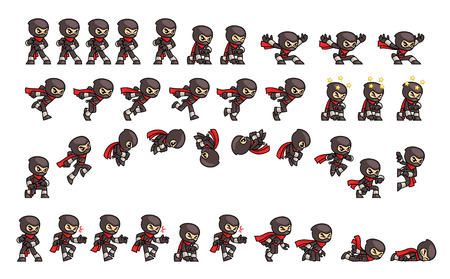 Black Ninja Game Sprites. Suitable for side scrolling, action, and adventure game. Stock Illustratie
