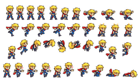 scrolling: Blue Ninja Boy Game Sprites. Suitable for side scrolling, action, and adventure game.