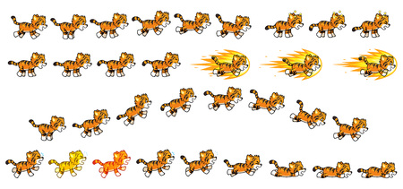 scroller: Little Tiger Game Sprites  Suitable for side scrolling, action, adventure, and endless runner game. Illustration