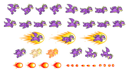Purple Dragon Game Sprites  Suitable for side scrolling, action, adventure, and endless runner game.