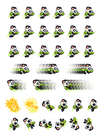 scrolling: White Panda With Jet Pack And Gun Game Sprites. Suitable for side scrolling, action, and adventure game. Illustration