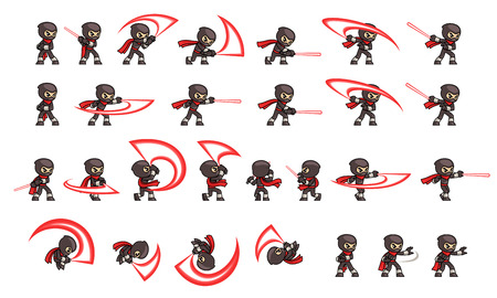 Black Ninja Attack Game Sprites. Suitable for side scrolling, action, and adventure game.