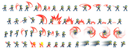 scrolling: Blue Robot Game Sprites. Suitable for side scrolling, action, and adventure game.