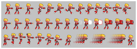 scrolling: Red Robot Game Sprites. Suitable for side scrolling, action, and adventure game. Illustration