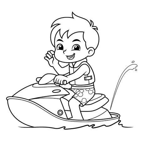 Boy Riding Jetski On The Beach BW. Ilustracja