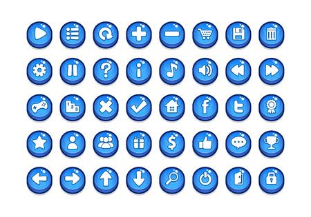 Confezione di modelli di pulsanti di gioco. Vettoriali