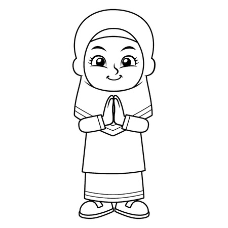 Moslem Girl Greeting Salaam BW