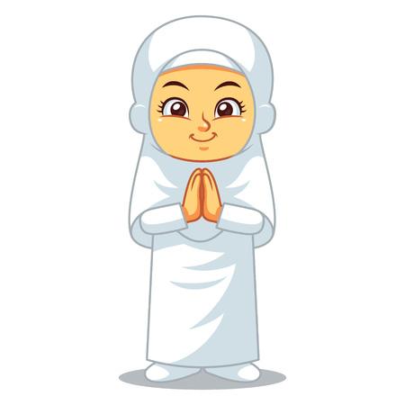 Chica musulmana Hajj Saludo Salaam.