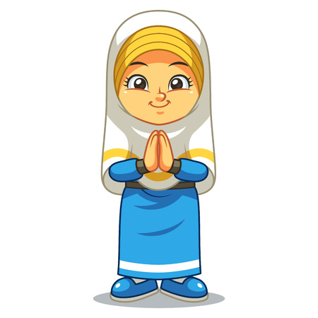 Saludo de la muchacha musulmana Salaam. Ramadán Mubarak.