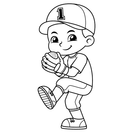 Muchacho del lanzador de béisbol listo para lanzar BW. Ilustración de vector