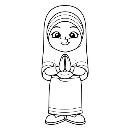 Saludo de la muchacha musulmana Salaam. Ramadán Mubarak BW. Ilustración de vector