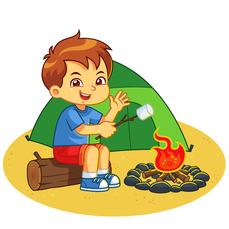 Boy Making Campfire And Baking Marshmallow. Ilustrace