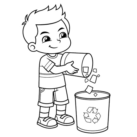 Boy Throwing Garbage In The Trash Can BW.
