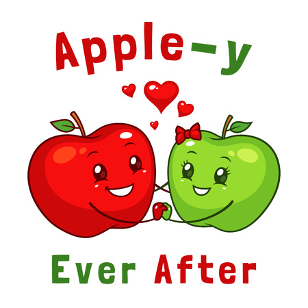 Happy apple couple cartoon character Illustration