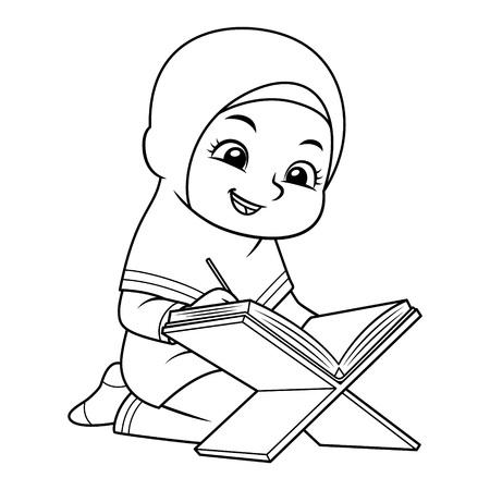 Moslemisches Mädchen, das Koran mit glücklichem Gesicht BW rezitiert Vektorgrafik