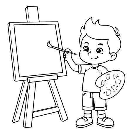 Boy Learning To Paint On His Canvas BW.