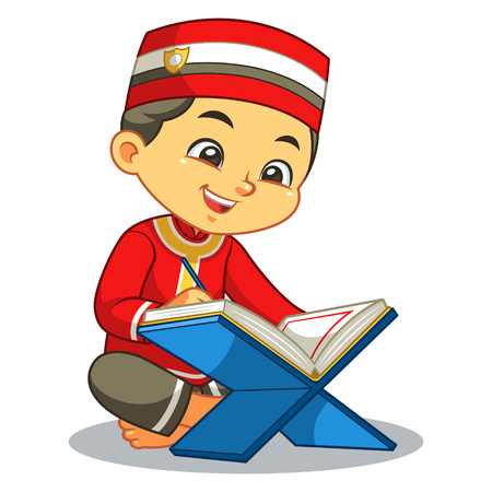 Moslem Boy Reading Quran.  Ilustrace