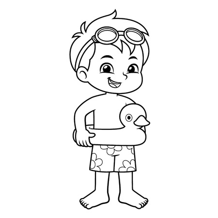 Boy Ready To Swim With Duck Float BW. Illustration