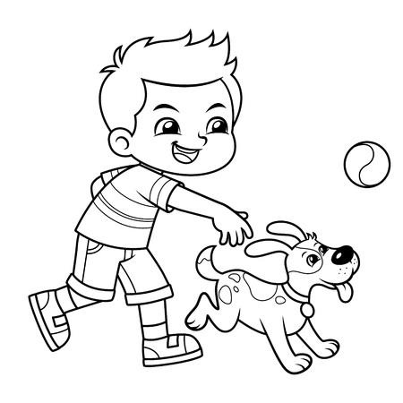 Boy Playing With His Pet Dog BW.