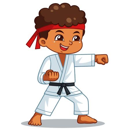 Chłopiec karate wykonujący technikę pięści.