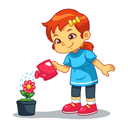 Girl Watering Her Flower Plant.